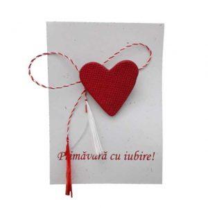 Mărţişor Inimă iubitoare, pictat în roșu